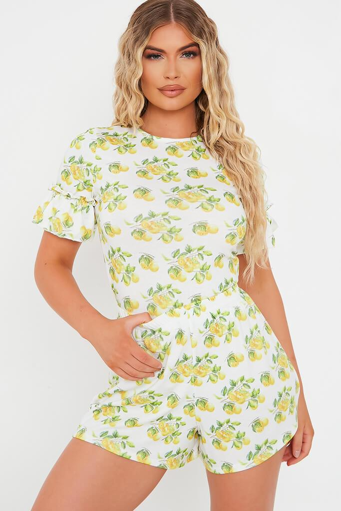 White Lemon Print Short Sleeve Frill Detail Top view main view