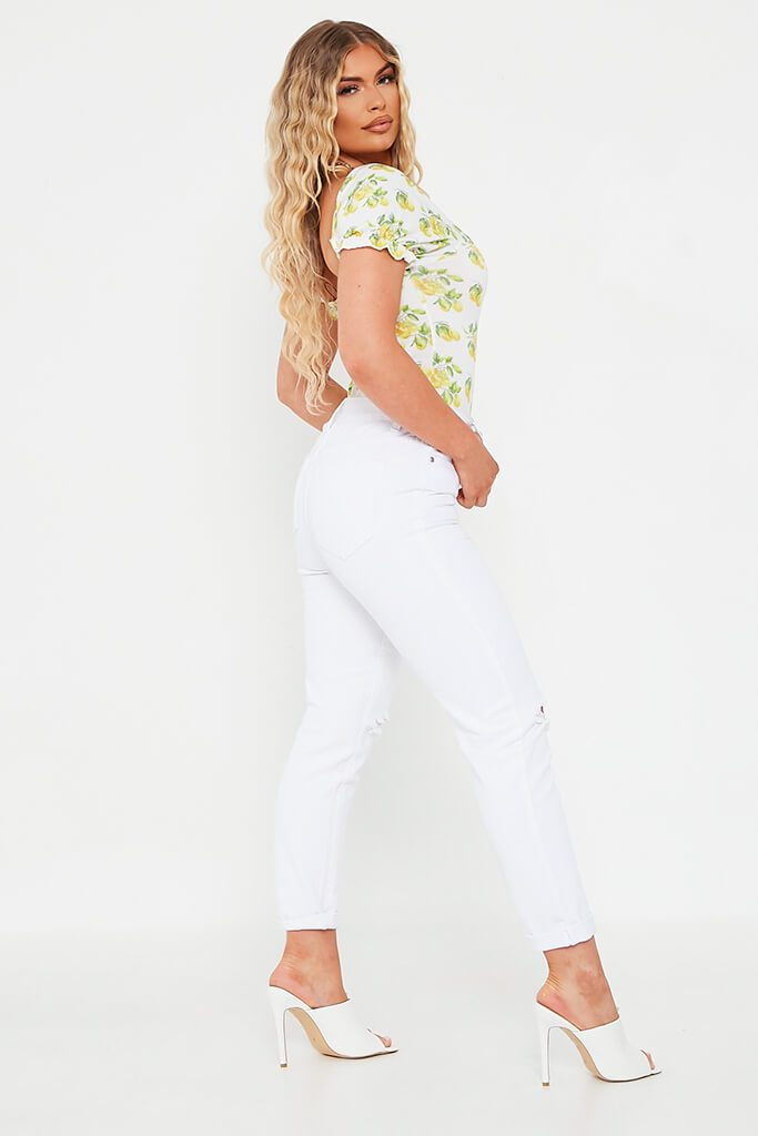 White Lemon Print Puff Sleeve Ruched Front Bodysuit view 3