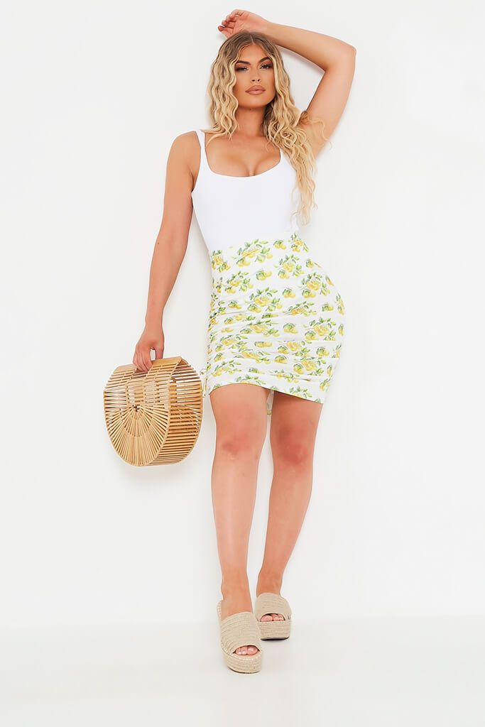 White Lemon Print Ruched Detail Mini Skirt view 2