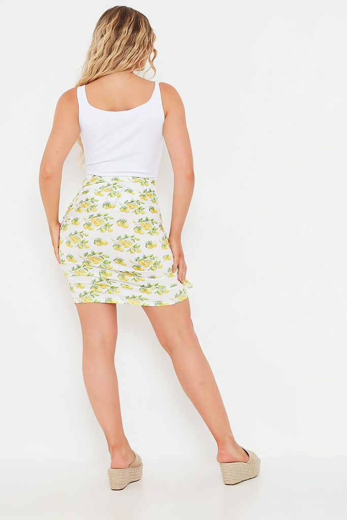 White Lemon Print Ruched Detail Mini Skirt view 5