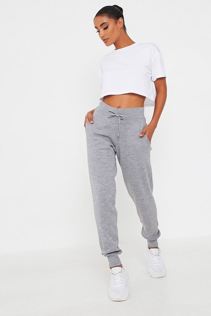 Grey Knitted Ribbed Cuff Jogger