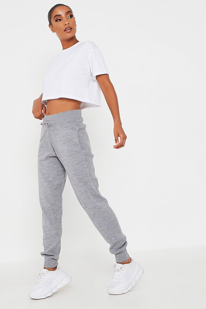 Grey Knitted Ribbed Cuff Jogger view 3
