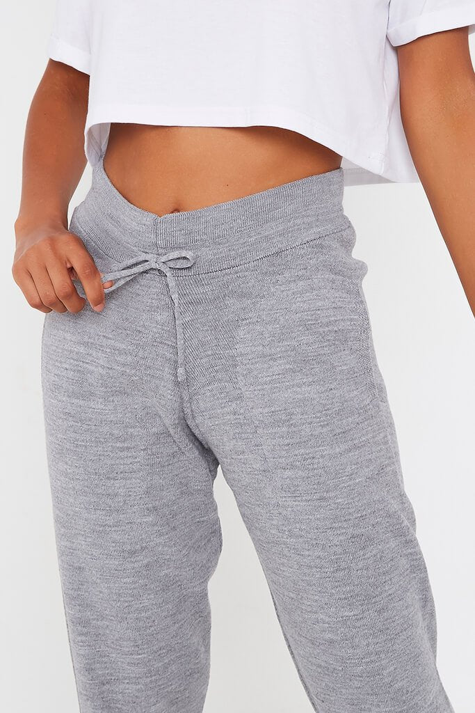 Grey Knitted Ribbed Cuff Jogger view 4