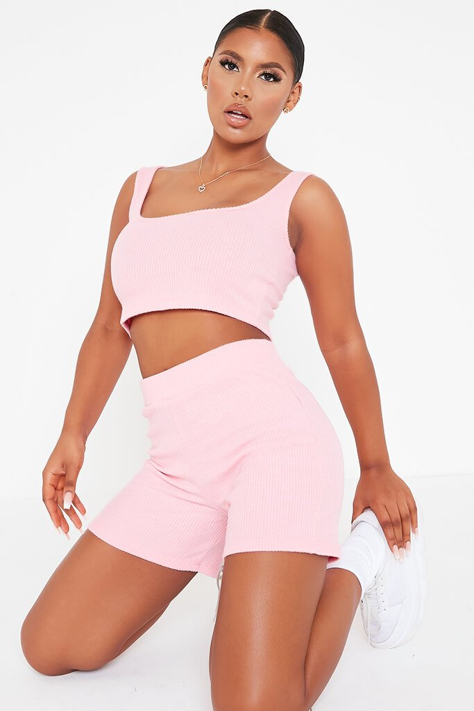 Pink Brushed Rib Cycling Short And Crop Top Lounge Set