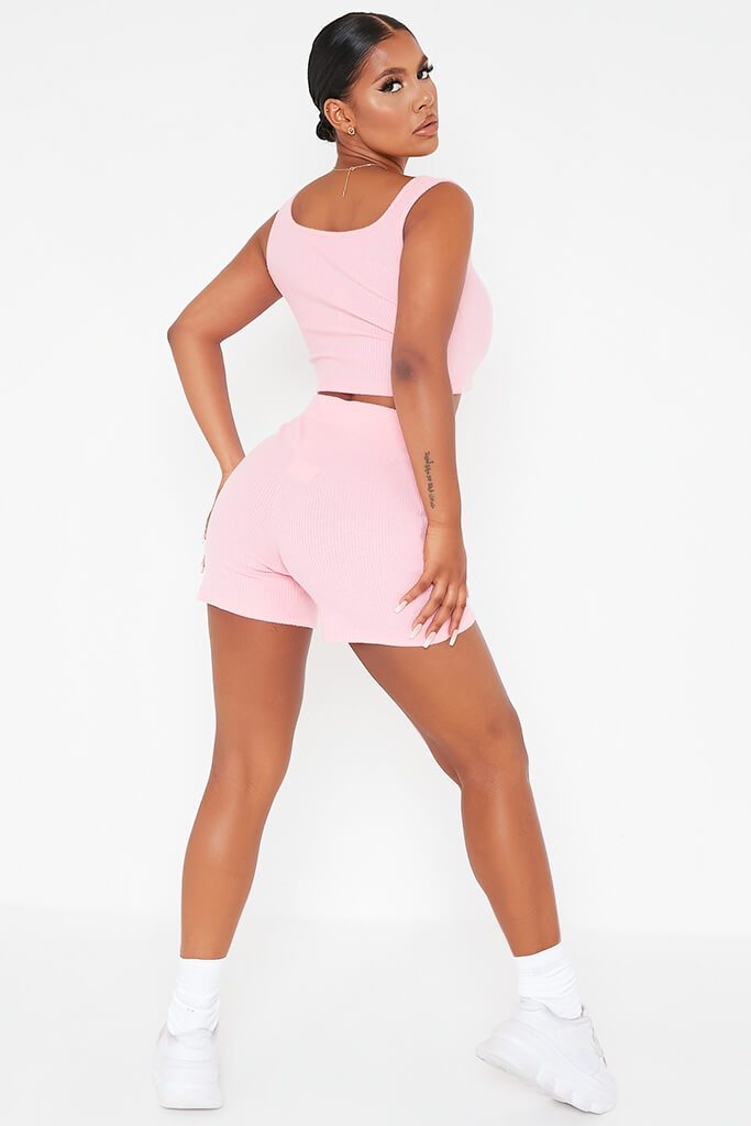 Pink Brushed Rib Cycling Short And Crop Top Lounge Set view 4