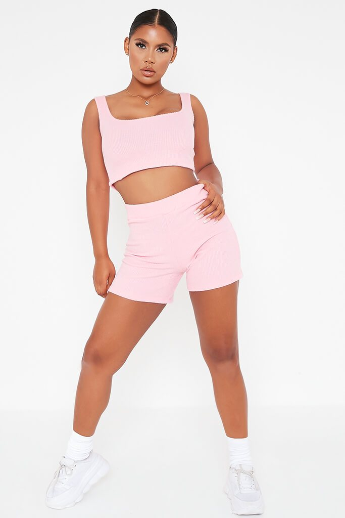 Pink Brushed Rib Cycling Short And Crop Top Lounge Set view 2