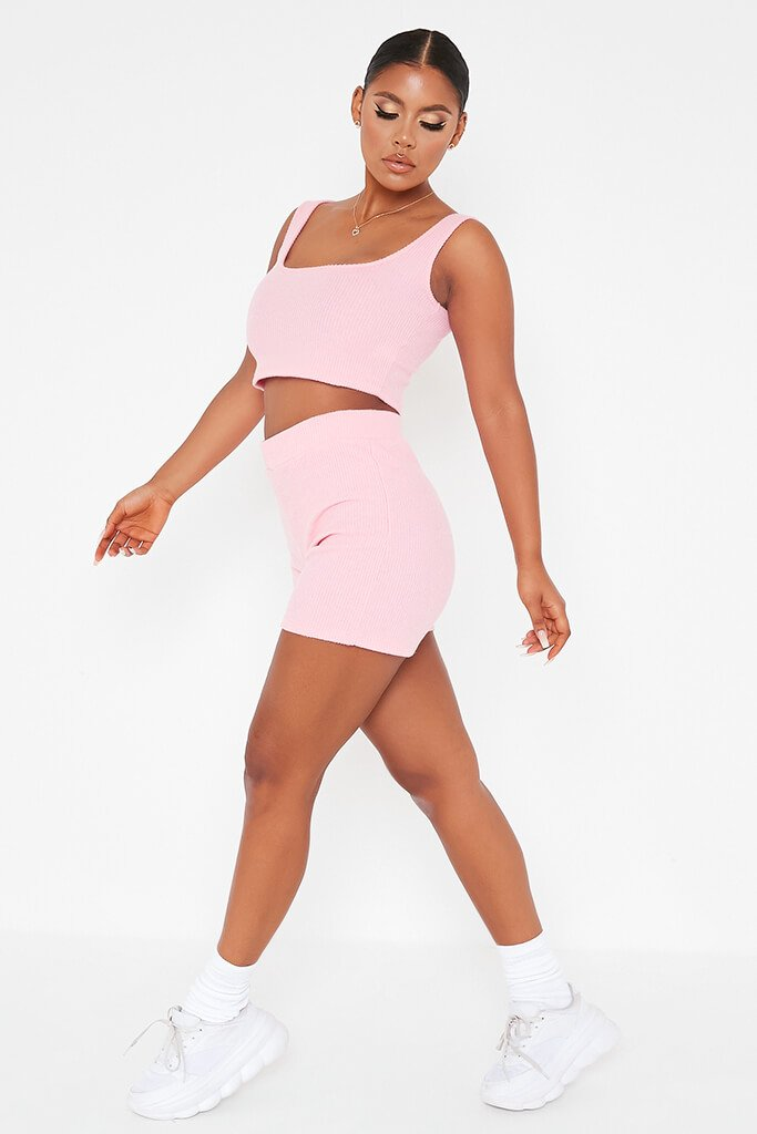 Pink Brushed Rib Cycling Short And Crop Top Lounge Set view 3