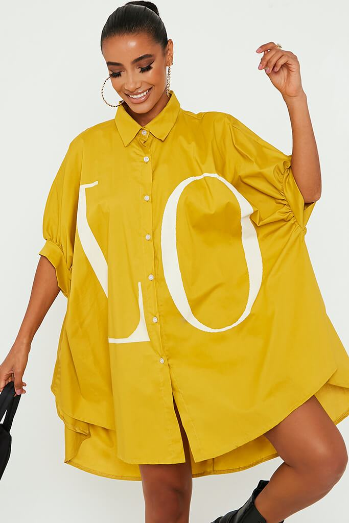 Mustard Oversized Printed Lo Shirt Dress