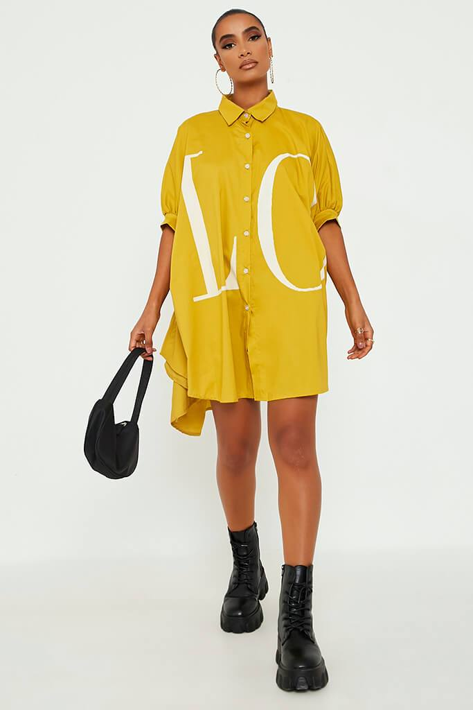 Mustard Oversized Printed Lo Shirt Dress view 2
