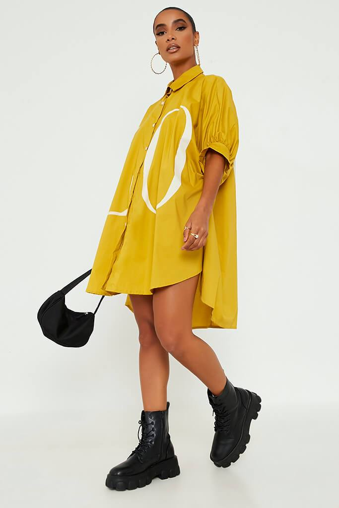 Mustard Oversized Printed Lo Shirt Dress view 3