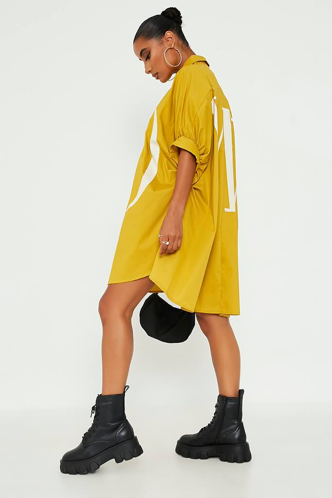Mustard Oversized Printed Lo Shirt Dress view 5