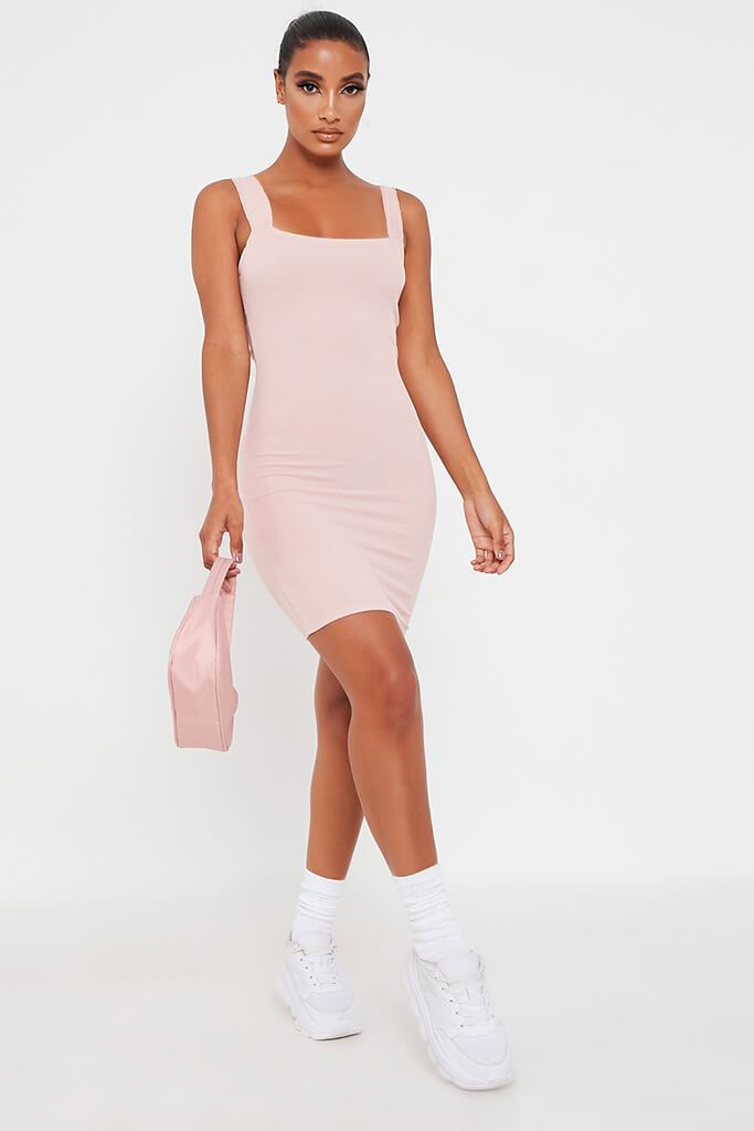 Pink Frill Strap Bodycon Dress view 2