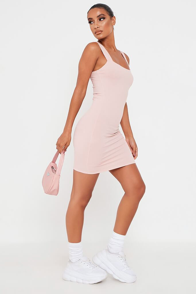 Pink Frill Strap Bodycon Dress view 3