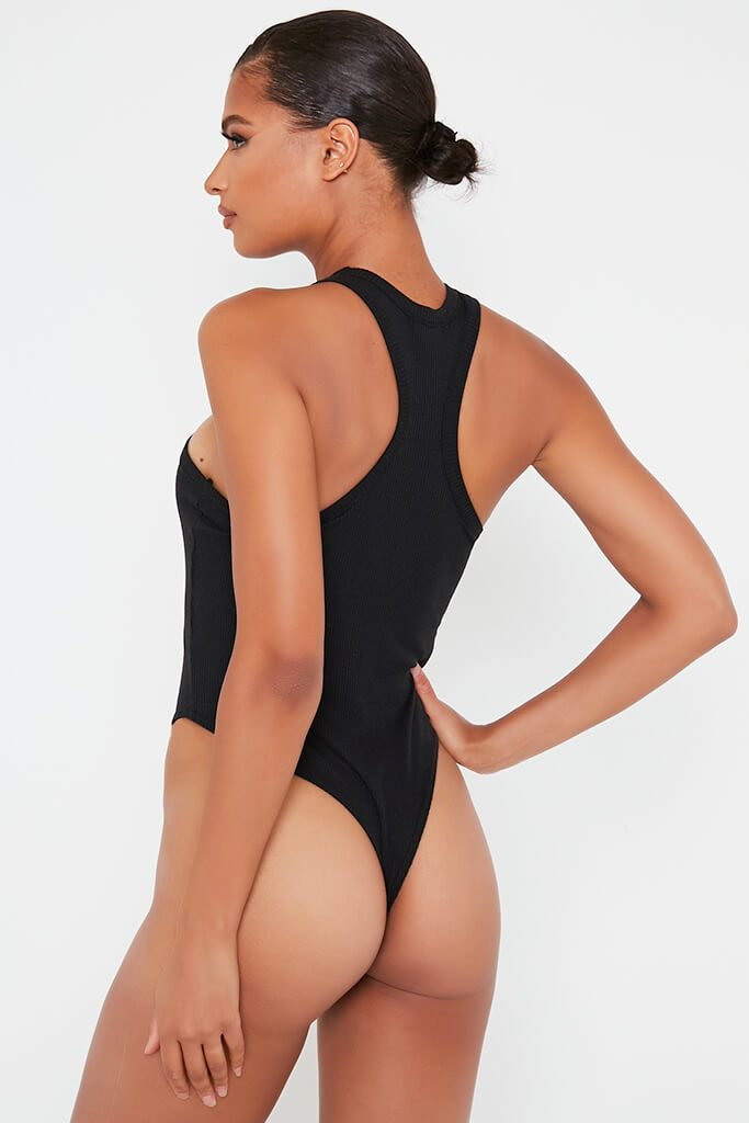 Black Ribbed Extreme Racer Neck Bodysuit view 4