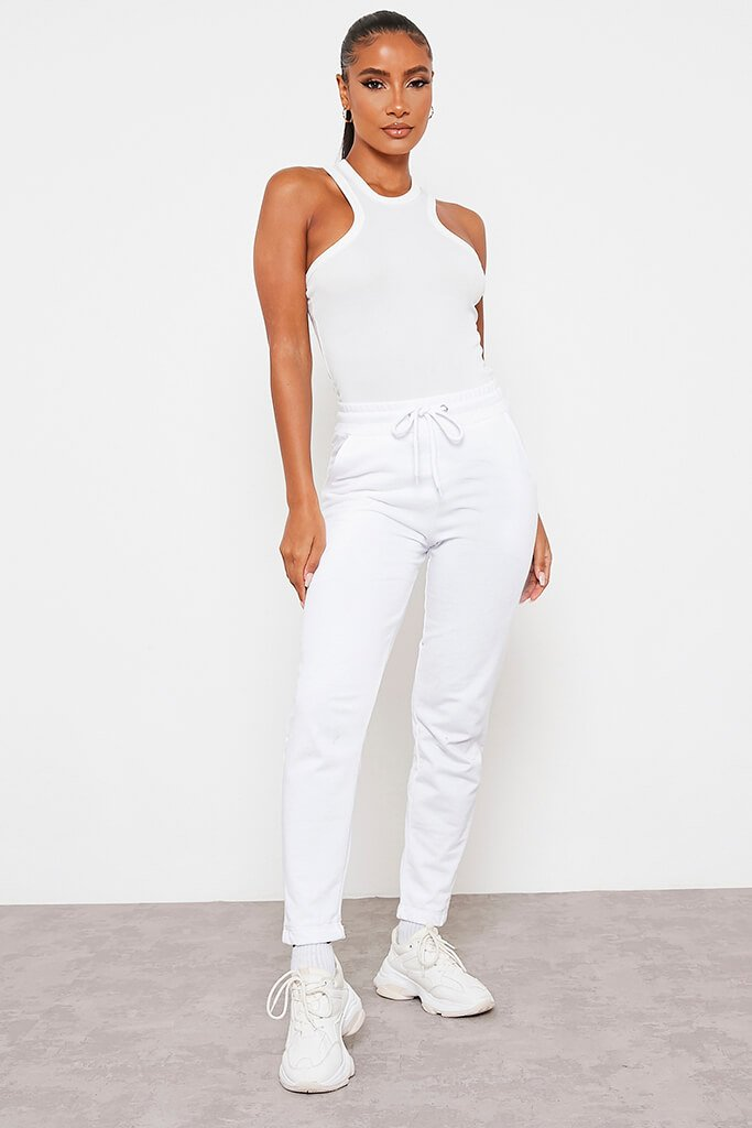 White Ribbed Extreme Racer Neck Bodysuit view 2