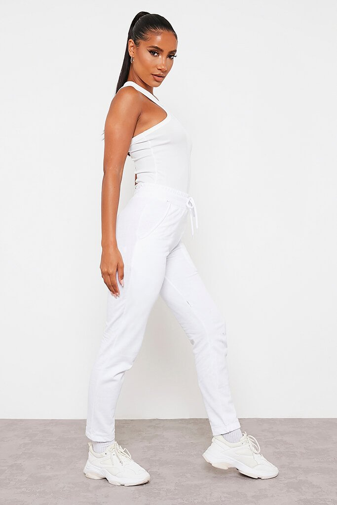 White Ribbed Extreme Racer Neck Bodysuit view 3