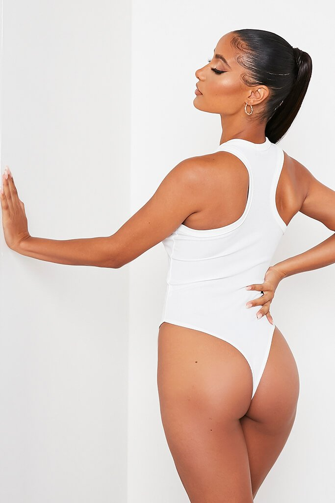 White Ribbed Extreme Racer Neck Bodysuit view 5