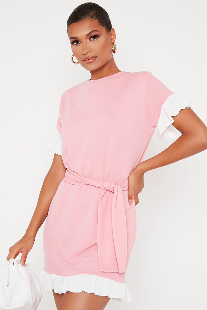 Baby Pink Tie Waist Contrast Frill Detail Tea Dress