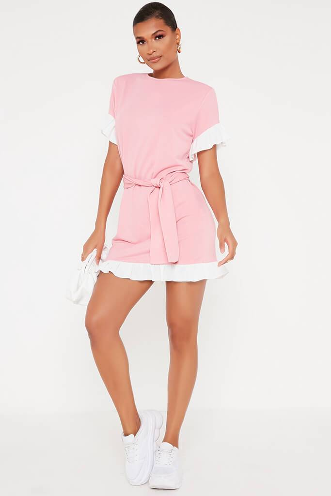 Baby Pink Tie Waist Contrast Frill Detail Tea Dress view 2
