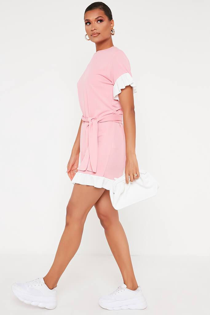 Baby Pink Tie Waist Contrast Frill Detail Tea Dress view 3