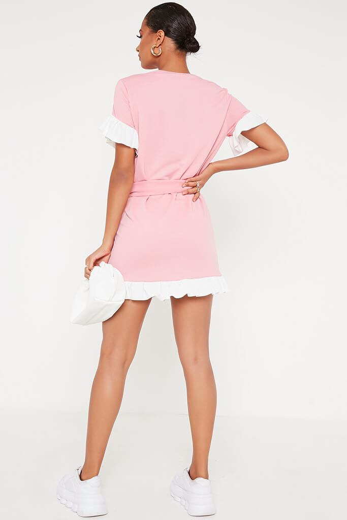 Baby Pink Tie Waist Contrast Frill Detail Tea Dress view 5
