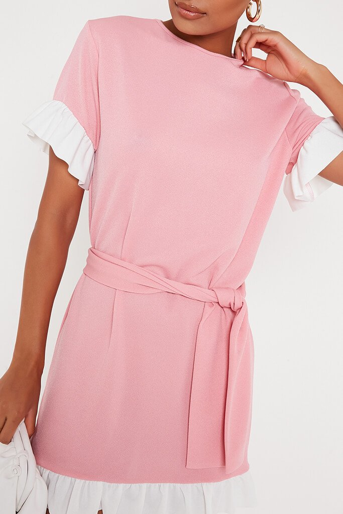 Baby Pink Tie Waist Contrast Frill Detail Tea Dress view 4