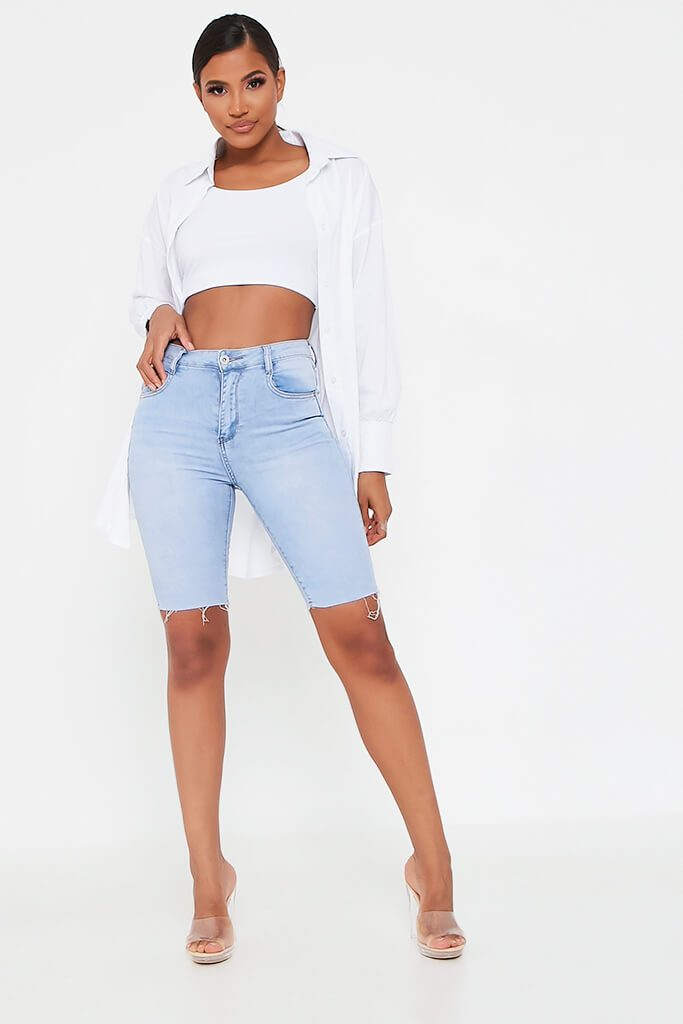 Light Wash High Waisted Denim Cycling Short view 2