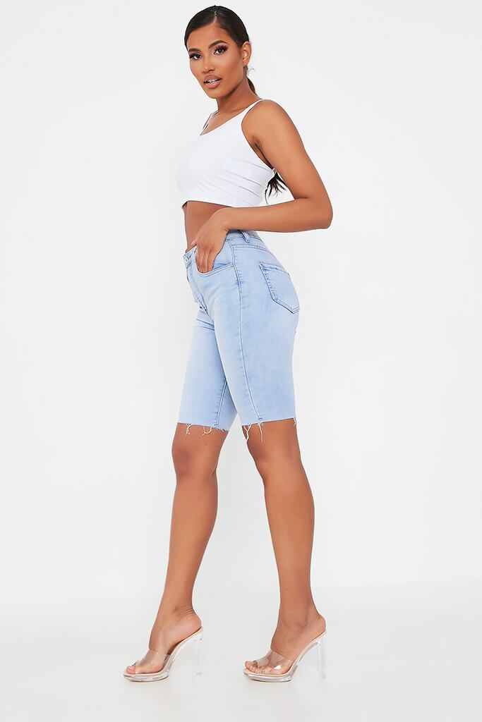 Light Wash High Waisted Denim Cycling Short view 3