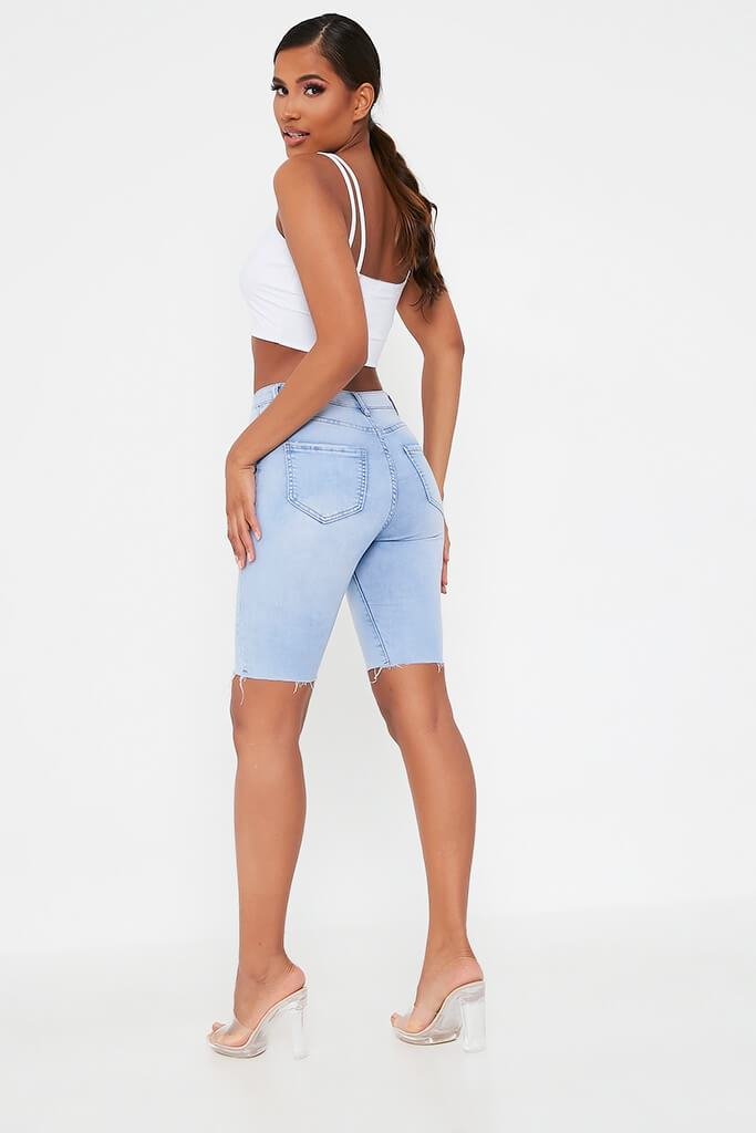 Light Wash High Waisted Denim Cycling Short view 4