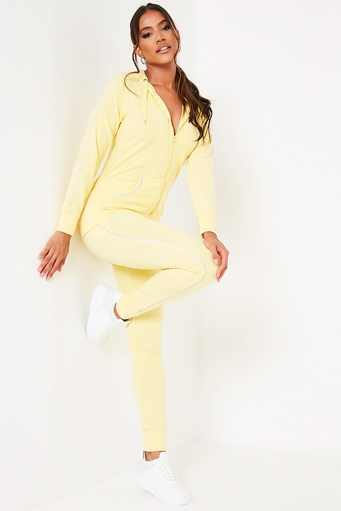 Yellow Diamante Trim Hoodie And Jogger Set view 4