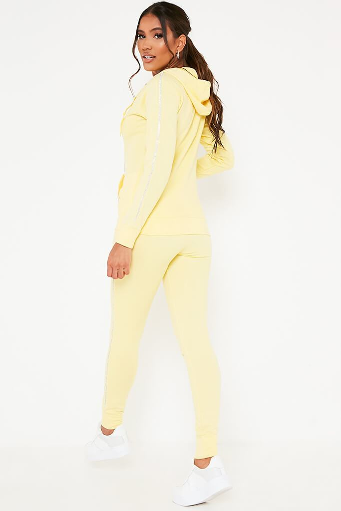 Yellow Diamante Trim Hoodie And Jogger Set view 5