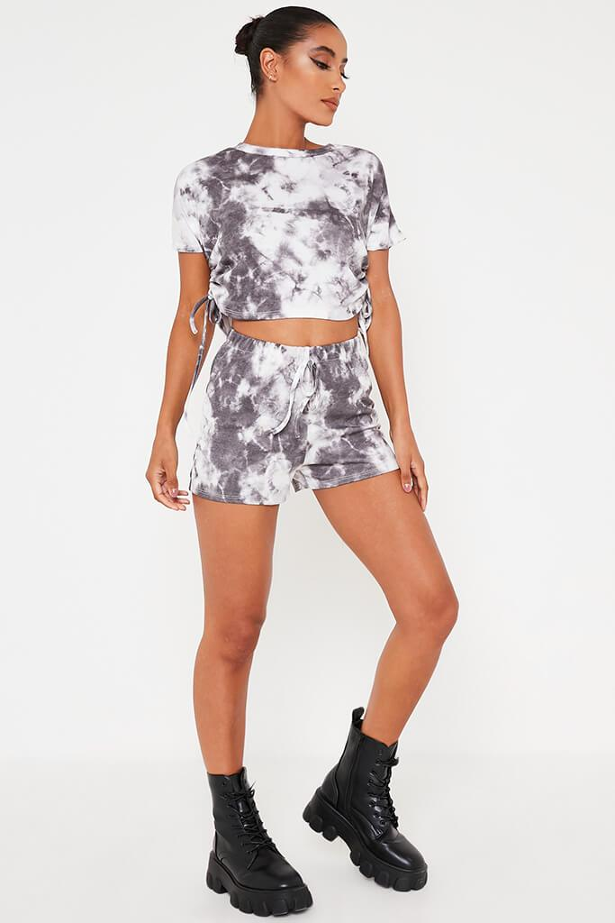 Black Tie Dye T-Shirt And Shorts Lounge Set view 2