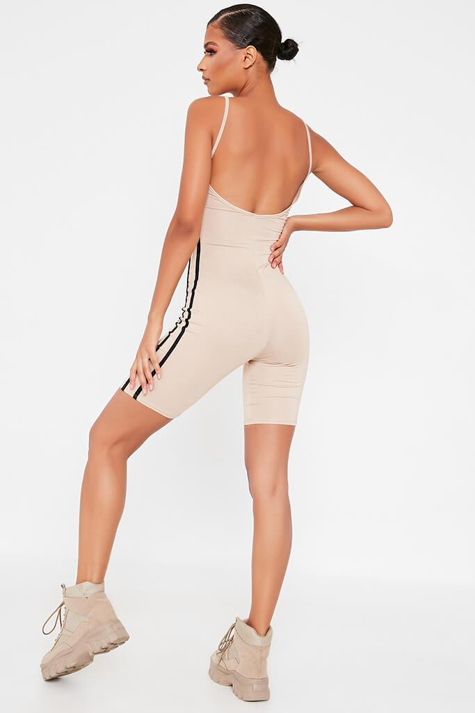Stone Jersey Side Stripe Cami Unitard view 5