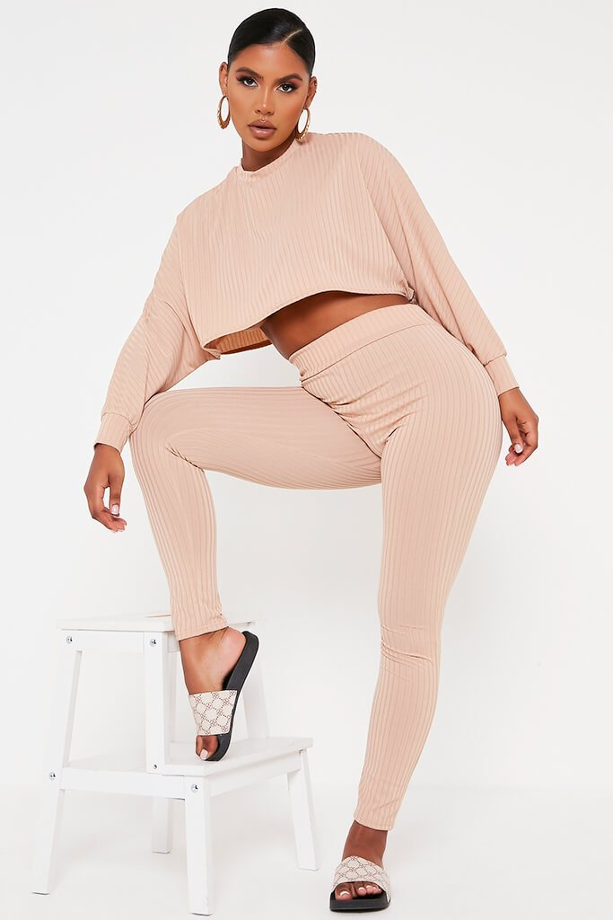 Stone Long Sleeve Crop Top Lounge Set view main view