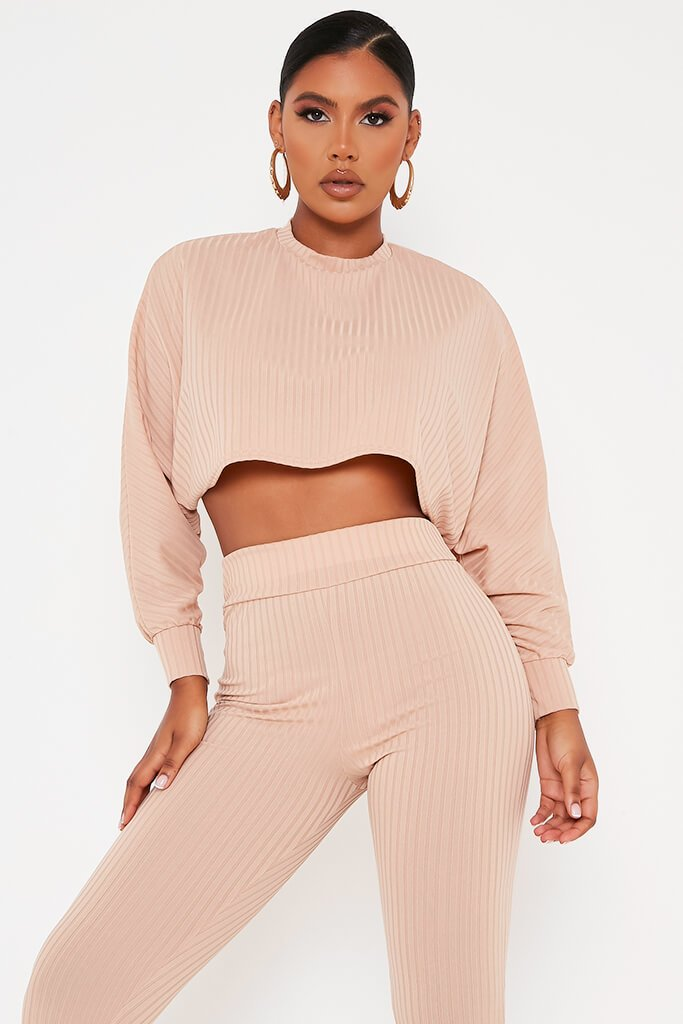 Stone Long Sleeve Crop Top Lounge Set view 2