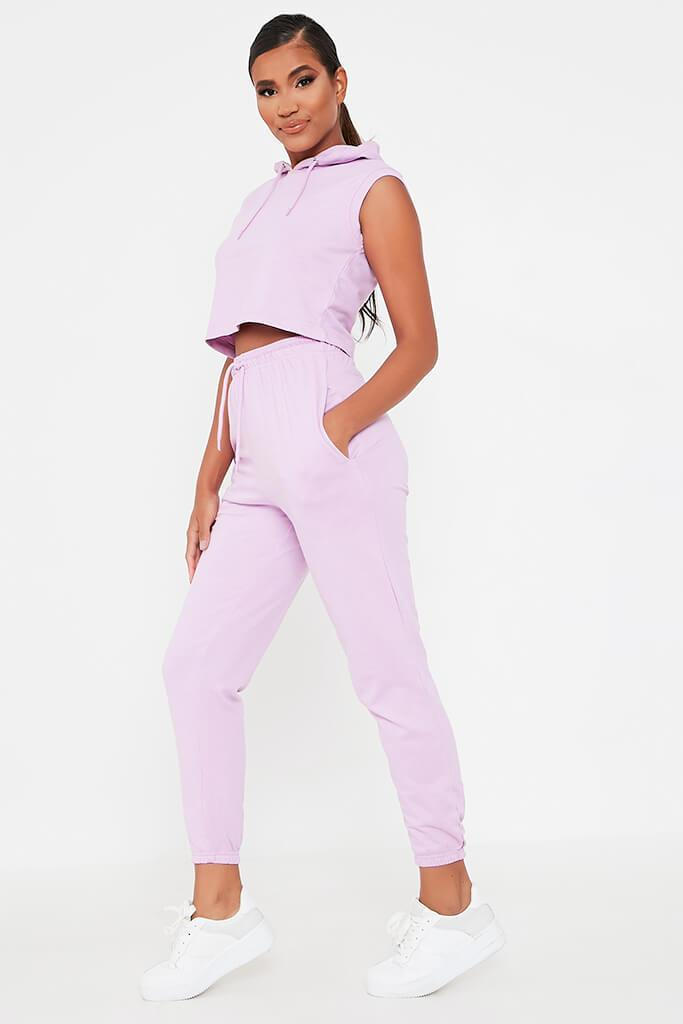 Lilac Sleeveless Hoodie And Jogger Set view 3