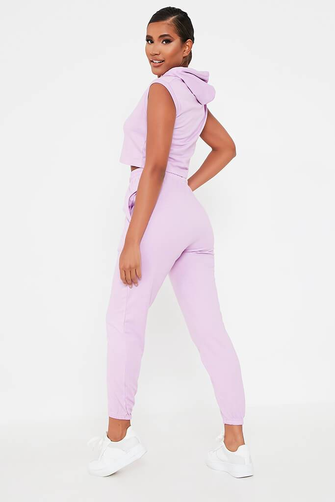 Lilac Sleeveless Hoodie And Jogger Set view 5