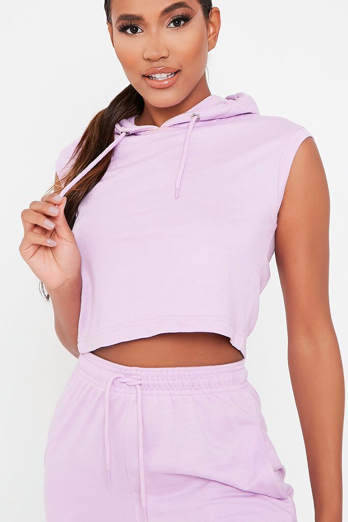 Lilac Sleeveless Hoodie And Jogger Set view 2