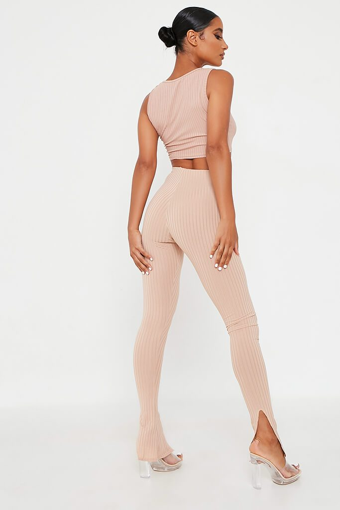 Stone Ribbed Split Hem Legging view 5