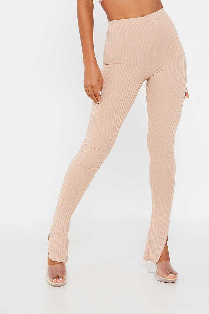 Stone Ribbed Split Hem Legging view 2