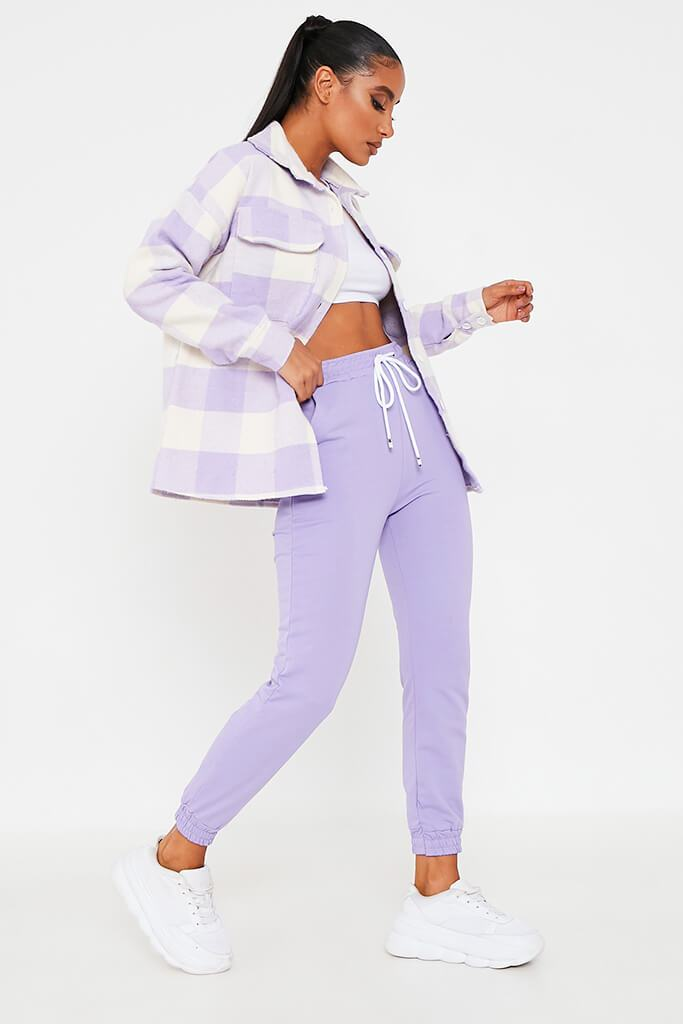 Lilac Brushed Gingham Shacket view 2
