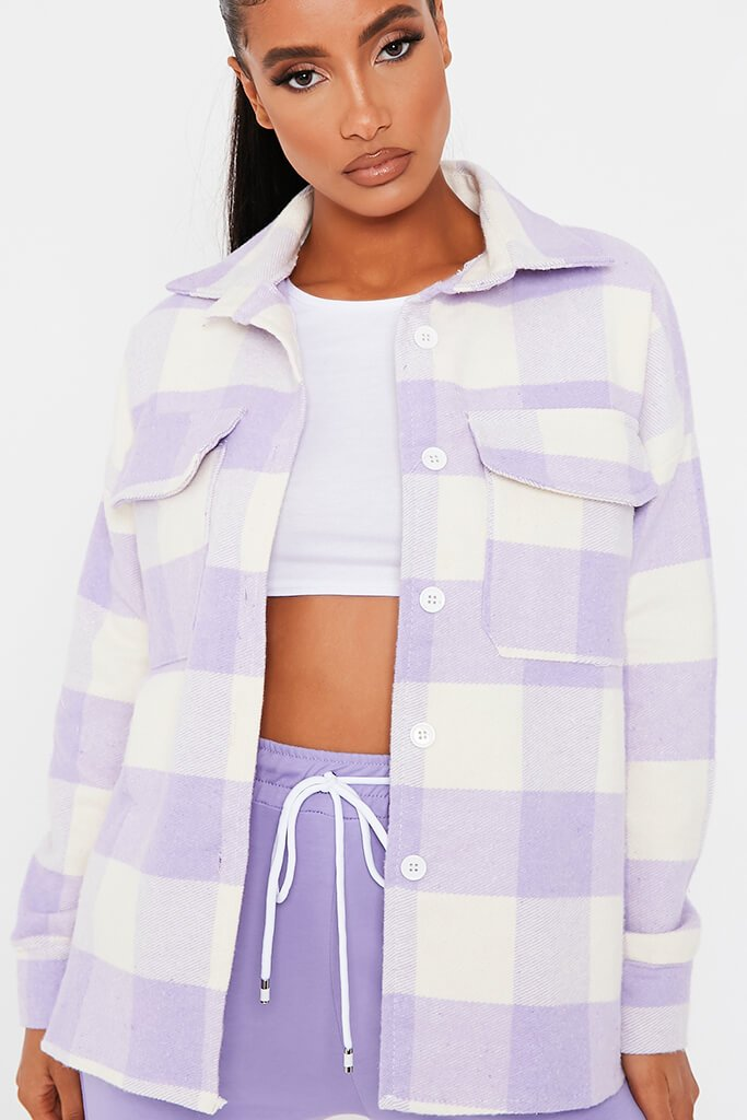 Lilac Brushed Gingham Shacket view 3