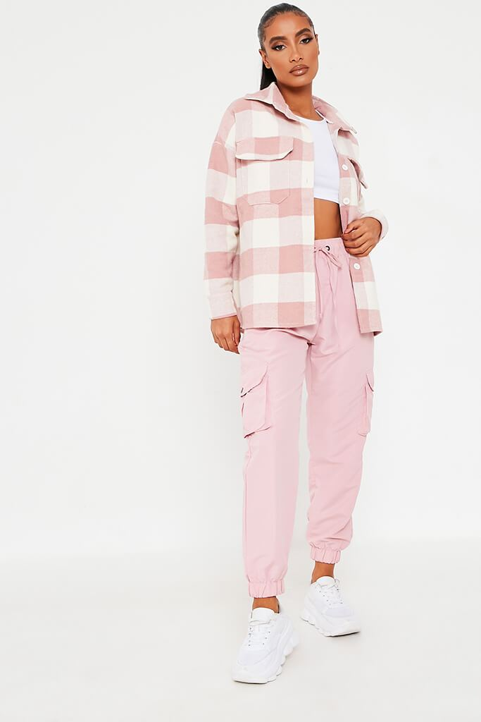 Pink Brushed Gingham Shacket