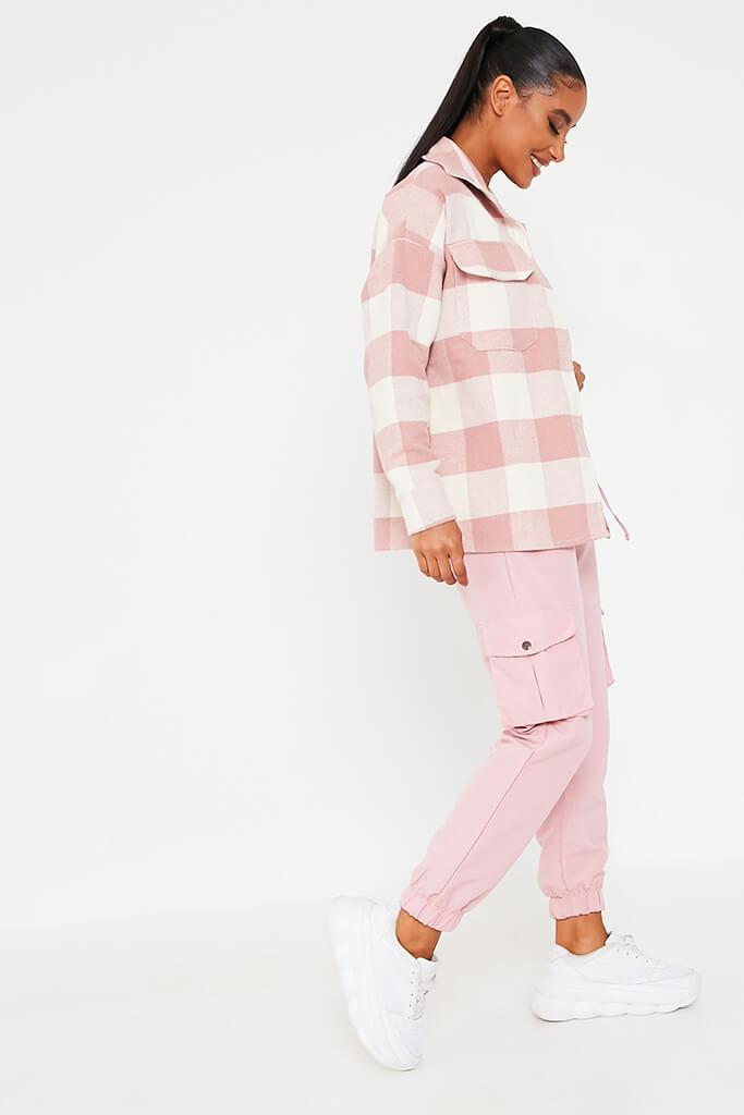 Pink Brushed Gingham Shacket view 2
