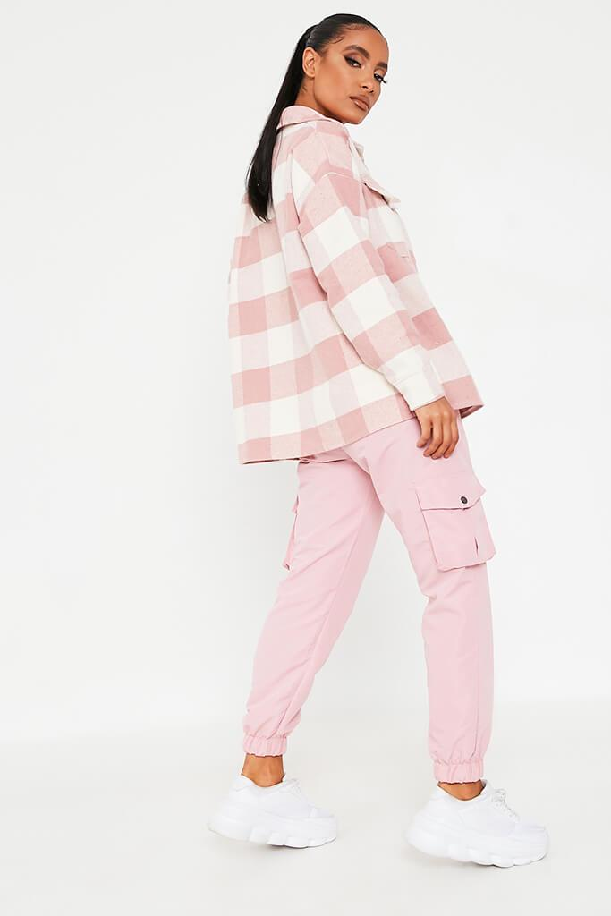 Pink Brushed Gingham Shacket view 4
