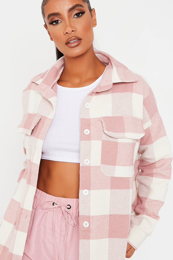 Pink Brushed Gingham Shacket view 3