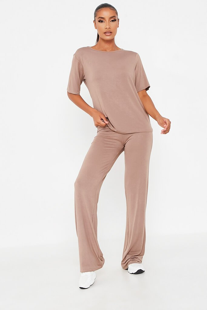 Mocha Oversized T-Shirt And Wide Leg Trouser view main view