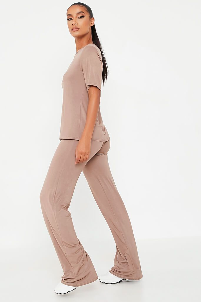 Mocha Oversized T-Shirt And Wide Leg Trouser view 3