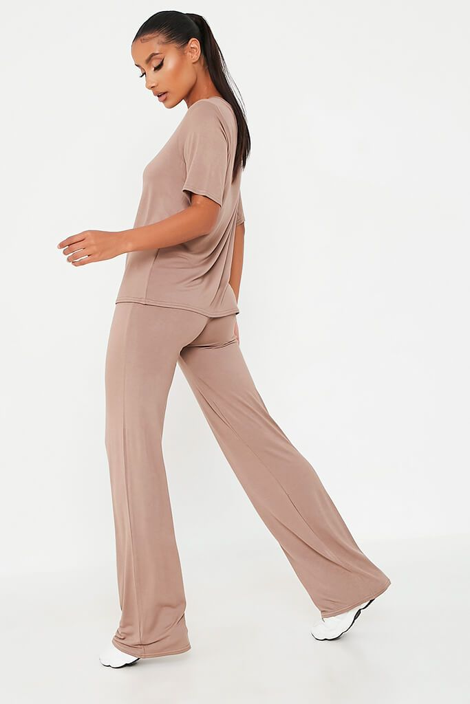 Mocha Oversized T-Shirt And Wide Leg Trouser view 5