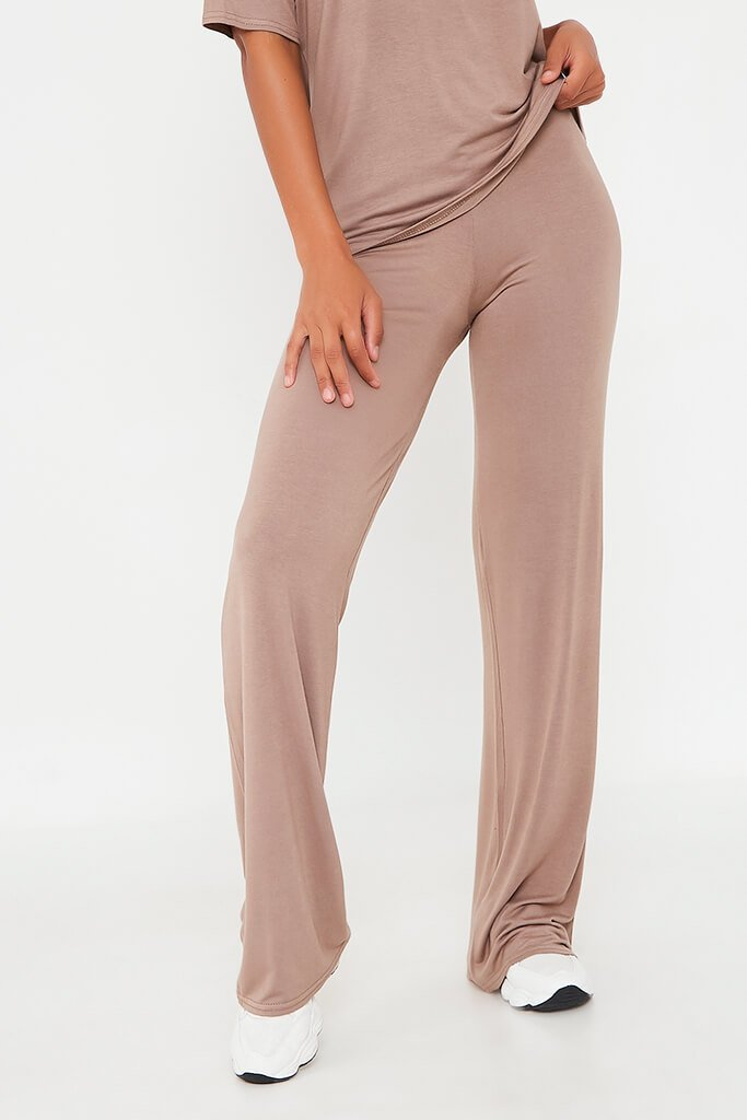 Mocha Oversized T-Shirt And Wide Leg Trouser view 2